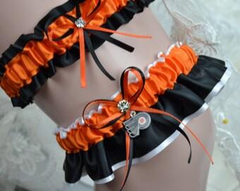 Philadelphia Flyers Theme-Wedding Garter Set / Bridal Garter set