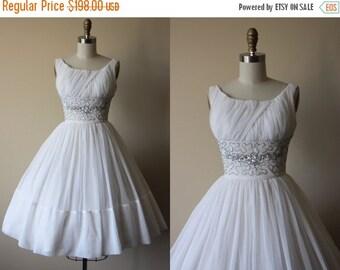 ON SALE 1950s Party Dress - Vintage 50s Dress - Snow White Jeweled Bust Shelf Chiffon Wedding Party Dress XS - Swansdown Dress