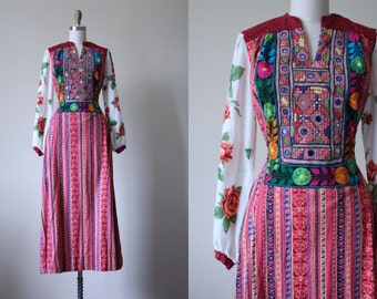70s Dress - Vintage 1970s Dress - Heavily Embroidered Mirrored Mixed Fabrics Rose Print Maxi Gown S - The Lotus Eater Dress