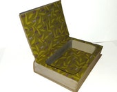 Hollow Book Safe Hawaii Cloth Bound vintage Secret Compartment Keepsake Box Hidden Security Box
