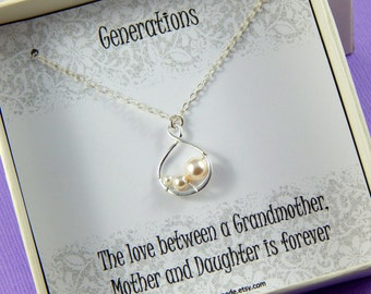 Grandmother of the bride necklace, Grandmother gift, infinity necklace, generations necklace
