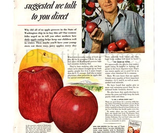 1941 Apples Vintage Ad, Washington State, 1940's Farmer, Apple Orchard, Advertising Art, 1940's Recipes, Red Apples, Great to Frame.