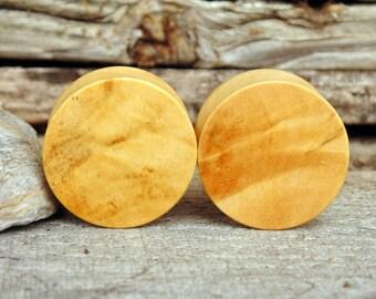 22mm Blond Buckeye burl Wood ear plugs, hand turned 7/8ths inch organic pair of gauges