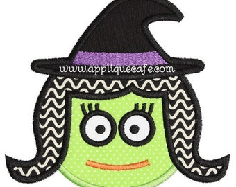 876 Witch Face Machine Embroidery Applique Design