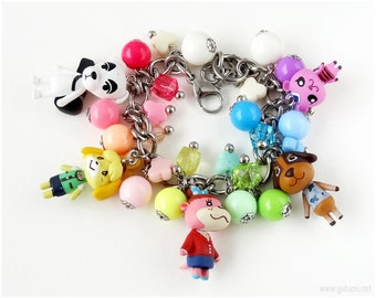 Animal Crossing Charm Bracelet and Necklace Jewelry Set, Rainbow, Convertible - Kawaii Necklace, Gamer Girl, Gamer Gifts