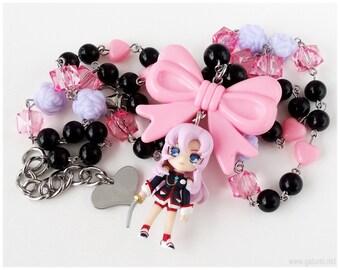 Revolutionary Girl Utena Necklace, Anime Figure, Pink, Lavender, Black, Stainless Steel