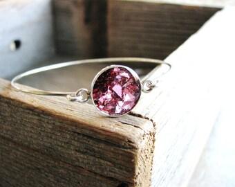 Pink Glass Glitter Bracelet, Resin Jewelry, Bangle Bracelet, Bracelet Stack, Stacking Bracelet, Modern Jewelry, Minimalist