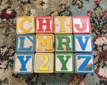 Vintage Wooden Blocks Set of 12