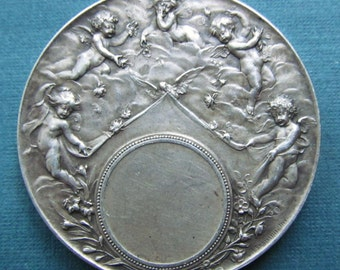 Art Nouveau Angelic Marriage Sterling Silver French Religious Medal Antique Angels With Flowers  SS85