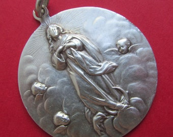 Virgin Mary With Angels Antique 800 Silver Religious Medal Pendant SS122