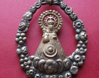 Antique Virgin Mary Madonna Spanish Religious Medal Pendant  SS168