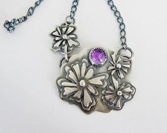 Silver flower necklace - flower garden - amethyst pendant - pierced silver pendant - hand fabricated