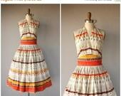 25% OFF SALE... Vintage 1950s Dress | 50s Halter Dress | 1950s Cotton Halter Dress | 50s Day Dress