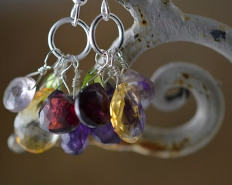 Garnet, Amethyst, Citrine, Peridot briolette earrings on Sterling silver hooks. Natural gemstones, birthstones. Handmade, wire wrapped.