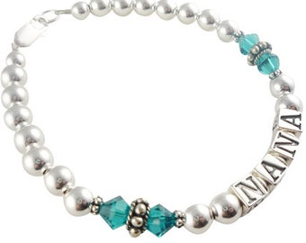 Nana bracelet in blue zircon- grandma in any colors - you choose the name and crystals