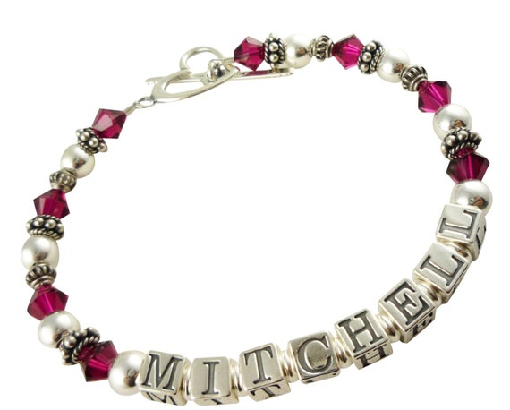 Mothers Bracelet/Ruby crystals or any birthstone(s)/ Mother Bracelet/Name Mother Bracelet/ Child Grandma Sterling Silver Mother's