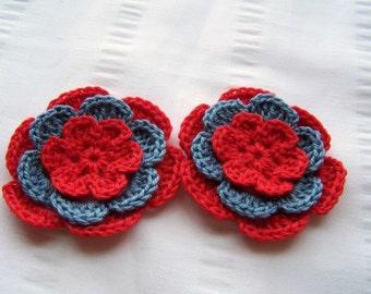 Flower crochet motif 2.5 inch cotton red blue