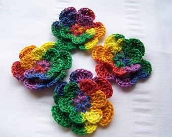 Appliques hand crocheted flowers set of 4 mexicana variegated cotton 1.5 inch