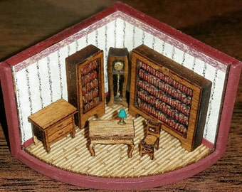 Dollhouse miniature 144th scale library kit