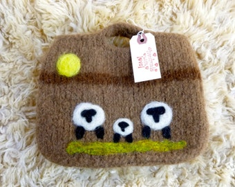 Felted wool purse tote knitting bag ready to ship