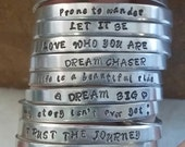 Personalized Hand stamped Cuff Bracelet, Inspirational Cuff Bracelet, Bridesmaid Gift, Custom Bracelet, Stamped Bracelet