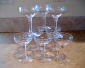 Clear Glasse Champagne Glasses  Set of 8  Circa 1940s
