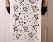 """Flour sack tea towel with """"Pizza Party"""" screen print in metallic gold and black ink"""