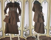 1914 Edwardian Wool Walking Suit in Brown with Silk Lining.