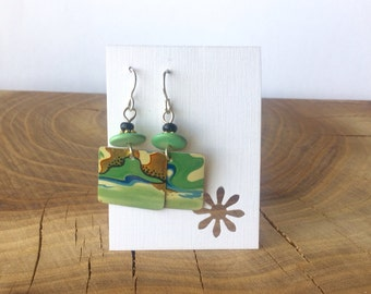 Earrings made from repurposed Vintage Tea Tin