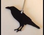 Raven Bird Holiday Ornament, Black Acrylic Ornament, Christmas Tree Ornament, Crow Shape