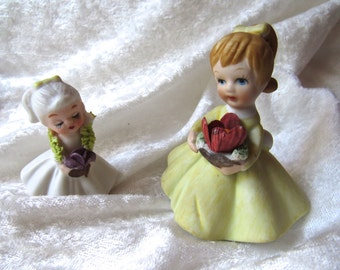 Vintage 1950's  Bone China Flower Girls  Miniature Figurines