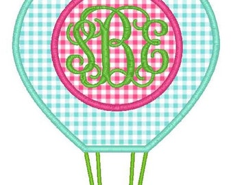 Hot Air Balloon Monogram Machine Embroidery Applique Design
