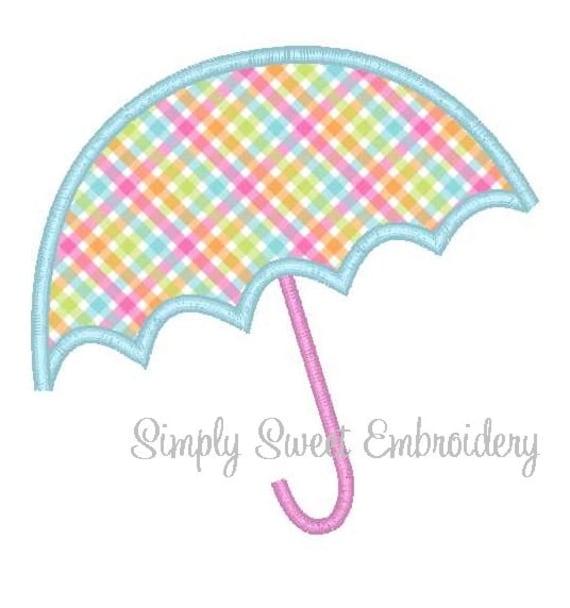 Umbrella applique machine embroidery design