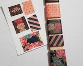 Washi Tape Sampler Stick- 5 yards-  Coral/Black/Navy Florals