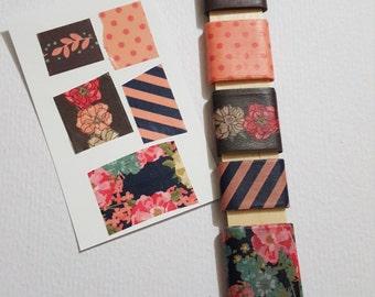 Coral Washi Tape Sampler Set - 5 yards - Peach Washi Tape - Floral Washi Tape - Stripe Washi Tape - Planner Stickers - Decorative Tapes