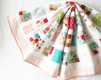Lil' Red Baby Quilt, baby blanket, baby girl quilt, baby and toddler quilt
