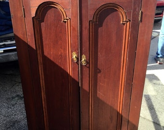 Primitive Bookcase cabinet deep cut arched top designed doors 18d35w62h Shipping is NOT FREE!