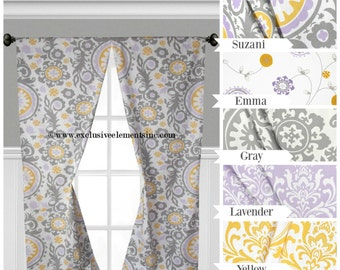 Lavender Gray Yellow Curtain Panels Baby Nursery Curtains Window Treatments Drapery Floral Child Drapes Purple Yellow Gray Set Pair