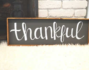 Thankful Handmade Wood Sign-CUSTOMIZABLE