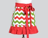 Womens Waist Aprons / Christmas Apron Chevron and Dots Vendor Styled Gifts for Her Craft Booth or Baking at Home Waist Half Apron
