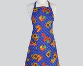 Apron Single Sided Vintage Chef Apron / Vintage Kitchen Cooking Apron French Country Roosters on Dark Blue Washable Canvas