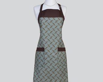 Full Chef Retro Apron / Womans Chef Style Kitchen Cooking Apron Brown and Teal Geometric Design in a Single Sided Vintage Chef Apron