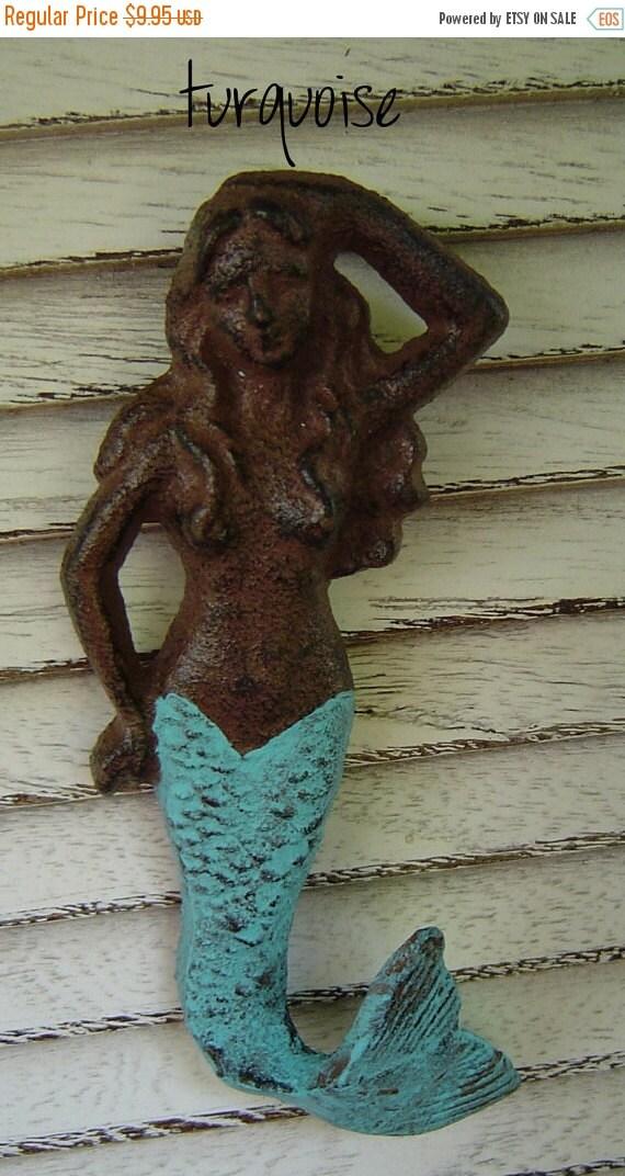 Fall Sale SaLE / MeRMAID Hook Vintage Sea Turquoise Cast Iron Decor. Bath Kitchen Bedroom Hook / Beach / Christmas Stocking Holder READY To
