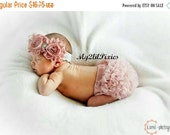 SALE Baby Girl Shabby Chic Set- Ruffle Bum Baby Bloomer, Inspired Vintage Shabby Chic Frayed Flower headband, Lace headband, Vintage pink, r