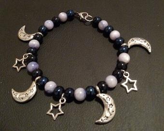 Moon and Stars Beaded Charm Bracelet