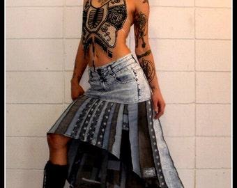 CUSTOM ORDER DEPOSIT Denim Scrappy patchwork Ninja Skirt