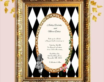 Alice in Wonderland Wedding Invitation and rsvp  Customized Personalized Invitation  Digital Download