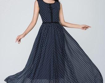 polka dot dress, illusion prom dress, blue white dress, Chiffon dress, Women dresses, maxi dress, sleeveless dress, round neck dress 1558
