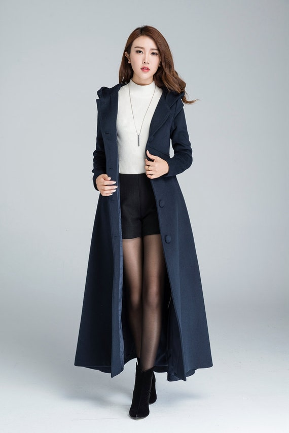 maxi coat navy blue wool coat warm coat hooded coat