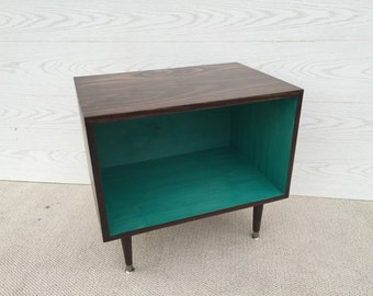 The Wee Record Player Stand Mid Century Modern Record Cabinet Media Table  TV Stand Vinyl Storage, MCM TEAL and Chocolate Brown